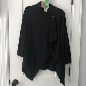 NWT! Black button sweatshirt fleece cardigan.